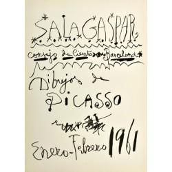 """PICASSO Pablo. Historical exhibition poster """"Sala Gaspar. Dibujos de Picasso. Enero-Febrero 1961""""."""