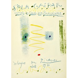 """PICASSO Pablo. Historical exhibition poster """"Sala Gaspar. Dibujos de Picasso. Abril 1961"""""""
